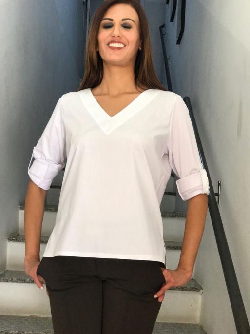 NYC CH 6 - Camisa decote V Tricoline x Malha - Branco